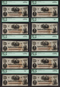 Confederate Notes:1862 Issues, T41 $100 1862 Cr. 318A (3); Cr. UNL (7). ... (Total: 10 notes)