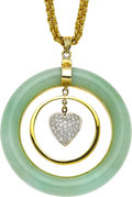 Estate Jewelry:Necklaces, Jadeite Jade, Diamond, Gold Necklace. ...