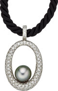 Estate Jewelry:Necklaces, South Sea Cultured Pearl, Diamond, Gold Pendant-Necklace . ...