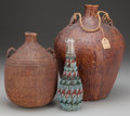 American Indian Art:Baskets, TWO PAIUTE TWINED WATER JUGS AND A BEADED BOTTLE. c. 1900...(Total: 3 Items)