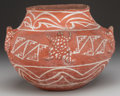 American Indian Art:Pottery, A ZUNI WHITE-ON-RED FROG EFFIGY JAR. c. 1890...
