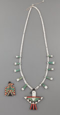 American Indian Art:Jewelry and Silverwork, A SANTO DOMINGO MOSAIC NECKLACE AND PENDANT... (Total: 2 Items)