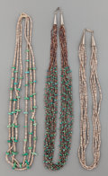 American Indian Art:Jewelry and Silverwork, THREE PUEBLO SHELL NECKLACES... (Total: 3 Items)