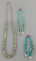 American Indian Art:Jewelry and Silverwork, TWO PUEBLO JACKLAS AND A NECKLACE... (Total: 3 Items)