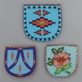American Indian Art:Beadwork and Quillwork, THREE BLACKFEET/PLATEAU BEADED HIDE POUCHES... (Total: 3 )