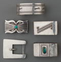 American Indian Art:Jewelry and Silverwork, FIVE COCHITI SILVER ITEMS. Joe Quintana. c. 1965... (Total: 5Items)