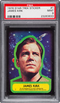 Non-Sport Cards:Singles (Post-1950), 1976 Topps Star Trek James Kirk Sticker #1 PSA Mint 9 - Pop One!...