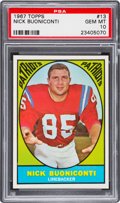 Football Cards:Singles (1960-1969), 1967 Topps Nick Buoniconti #13 PSA Gem Mint 10 - The Finest on Record! ...
