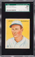 Baseball Cards:Singles (1930-1939), 1933 Goudey Jack Russell #123 SGC 92 NM/MT+ 8.5 - The Finest SGCExample! ...