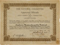 Basketball Collectibles:Others, 1921 Joint Basketball Committee Certificate Signed by Three Hall ofFamers....
