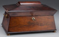 Decorative Arts, British, AN ENGLISH REGENCY FLAME MAHOGANY AND MOTHER-OF-PEARL TEA CADDY, circa 1830. 9 x 13-5/8 x 7-3/4 inches (22.9 x 34.6...