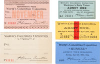World's Columbian Exposition: Assorted Tickets and Passes