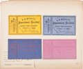 Political:Small Paper (pre-1896), Andrew Johnson: Four Impeachment Trial Tickets....
