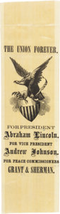 Political:Ribbons & Badges, Abraham Lincoln: Graphic Peace Commissioners Ribbon....