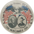 Political:Pinback Buttons (1896-present), McKinley & Roosevelt: Rare and Spectacular 1 ½-inch Red, White and Blue Jugate Pinback....