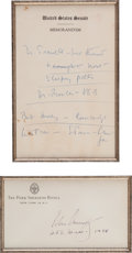 Autographs:U.S. Presidents, John F. Kennedy: Autograph Notes and Signed Envelope....