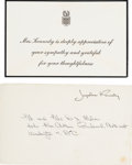 Political:Miscellaneous Political, Jacqueline Kennedy Printed Card and Printed Franked EnvelopeAcknowledging Sympathy.... (Total: 2 Items)