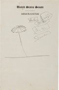 Miscellaneous:Ephemera, John F. Kennedy Doodle on United States Senate Stationery....