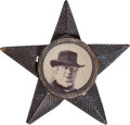 "Political:Ferrotypes / Photo Badges (pre-1896), Horace Greeley: Desirable ""Portrait with Hat"" Ferrotype Badge...."