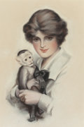 Mainstream Illustration, FREDERIC STANLEY (American, 1892-1967). Woman with Monkey,1915. Pastel on paper. 21.5 x 14.375 in. (sight). Signed and ...