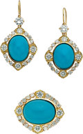 Estate Jewelry:Suites, Turquoise, Diamond, Gold Jewelry Suite. ... (Total: 2 Items)