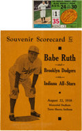 Baseball Collectibles:Programs, 1938 Babe Ruth Brooklyn Dodgers Scorecard & 1947 Los Angeles Transit Lines Pass Lot of 2....