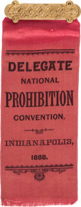 Political:Ribbons & Badges, [Clinton Fisk]: 1888 Prohibition Convention Ribbon....