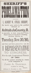 Political:Small Paper (pre-1896), [James A. Garfield]: Special Election Broadside....