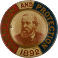 Political:Ferrotypes / Photo Badges (pre-1896), Benjamin Harrison: 1892 Lithographed Tin Portrait Badge....