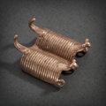 Pre-Columbian:Metal/Gold, A Sinu Gold Ornament in the Form of Conjoined Armadillos...