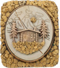 Western Expansion:Goldrush, Mining Cabin Gold Brooch....