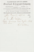 Miscellaneous:Ephemera, Early 1860-dated Overland Telegraph Company Message Stationery....