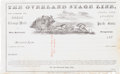 Miscellaneous:Ephemera, Overland Stage Line: 1860s Receipt with Great Stage CoachWoodcut....
