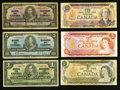 Canadian Currency: , A Sizable Hoard of Circulated Canadian Notes.. ... (Total: 14 notes)