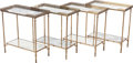 Furniture : French, A SET OF FOUR DIRECTOIRE-STYLE BRASS AND MIRRORED SIDE TABLES,circa 1940. 21 x 20 x 10 inches (53.3 x 50.8 x 25.4 cm). ...(Total: 4 Items)