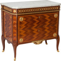 A LOUIS XV AMARANTH, TULIPWOOD, MAHOGANY AND GILT BRONZE COMMODE WITH MARBLE TOP, Paris, France, circa 1775 Stamp