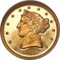 Proof Liberty Half Eagles, 1865 $5 PR67 Cameo NGC. CAC....