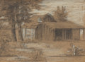 "Texas:Early Texas Art - Drawings & Prints, JULIAN ONDERDONK (American, 1882-1922). Mexican Shack,""Jacal"", June 23, 1899. Pencil on paper with white highlights.5 ..."