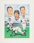 Baseball Collectibles:Others, 1987 Mickey Mantle, Billy Martin & Whitey Ford Signed Lithograph. ...