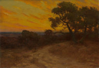 JULIAN ONDERDONK (American, 1882-1922) Golden Sunset, Southwest Texas Oil on panel 14 x 20 inches