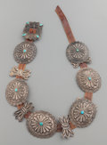 American Indian Art:Jewelry and Silverwork, A NAVAJO SILVER AND TURQUOISE CONCHO BELT. c. 1940...
