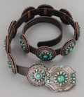 American Indian Art:Jewelry and Silverwork, A NAVAJO SILVER AND TURQUOISE CONCHO BELT. c. 1975...