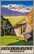 """Movie Posters:Miscellaneous, Loetschberg Railway Switzerland Travel Poster (1931). Travel Poster (24"""" X 39.25""""). Miscellaneous.. ..."""