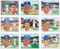 Baseball Collectibles:Others, 1988 Brooklyn Dodgers Signed Original Artwork by Susan Rini Lot of9....