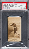 "Baseball Cards:Singles (Pre-1930), Uncatalogued 1887 N172 Old Judge Orator Shafer ""Catching, HandsChest High"" PSA VG-EX+ 4.5...."