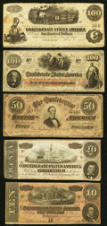 Confederate Notes:1862 Issues, T40 $100 1862.. ... (Total: 5 notes)