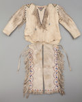 American Indian Art:Beadwork and Quillwork, AN APACHE CHILD'S BEADED HIDE OUTFIT. c. 1900...