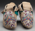 American Indian Art:Beadwork and Quillwork, A PAIR OF PLATEAU BEADED HIDE MOCCASINS. c. 1910... (Total: 2 )