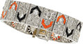 Estate Jewelry:Bracelets, Art Deco Diamond, Coral, Black Onyx, Platinum Bracelet. ...