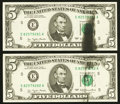 Error Notes:Ink Smears, Fr. 1974-E $5 1977 Federal Reserve Notes. Two Consecutive Examples.Very Choice Crisp Uncirculated.. ... (Total: 2 notes)